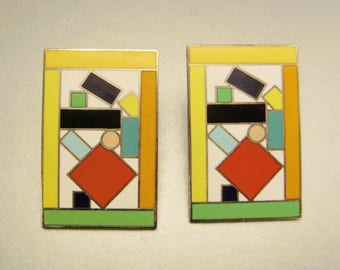 MEMPHIS ENAMEL EARRINGS signed Zanini Acme Los Angeles rectangles pierced geometric colorful  app 1 1/2x1 in