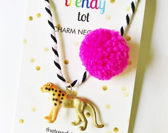 Cheetah Necklace. Kids Jewelry. Unique Gift for Kids. Animal Necklace. Pompom Necklace. Leopard Necklace. Girls necklace. Boys Jewelry
