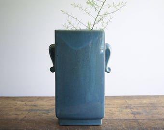 Vintage Blue Pottery Vase Curled Tab Handles Speckled Glaze 1940s 1950s Flower Holder Home Decor
