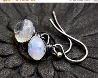 Summer Sale Drop Earrings, Moonstone Earrings, Moonstone Jewelry, Rainbow Moonstone, Dangle Earrings, Sterling Silver, White Gemstone, PoleS