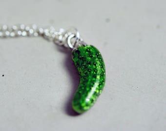 Pickle Necklace, Condiments, Cucumber Pendant, Snack Necklace, Food Pendant, Silver Necklace