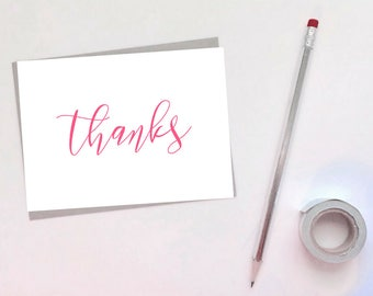 "Set of [10] 4x6 IN. Elegant ""Thanks"" Cards - Thank You Cards - Minimal - 4x6 - Card Set - Cursive - Note Card - Greeting Card - minimalist"