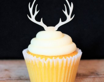 Deer Antlers Cupcake Topper for Rustic Wedding, Birthday, Retirement, Baby Shower, Party, Western Theme, Acrylic