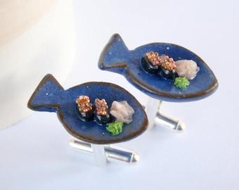 Sushi on Fish Plate Cufflinks - Miniature Food Jewelry Collectable - Schickie Mickie Original 100% Handmade