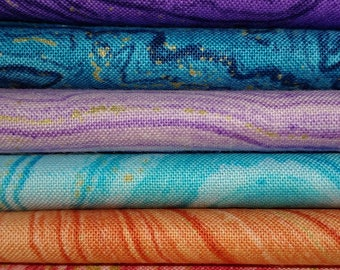 Fat Quarters Northcott Sandscapes 6 Pack Cotton Quilting Sewing Crafting Fabrics
