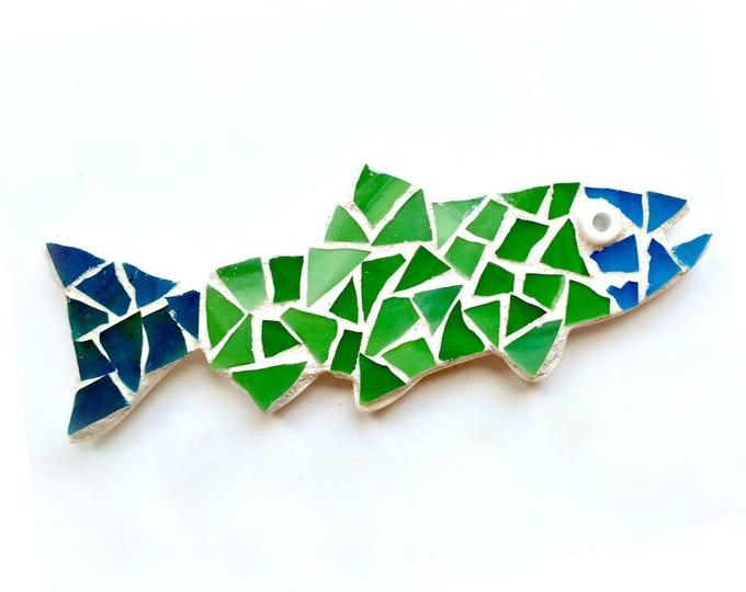 Fish Magnet, Mosaic Blue Green Fish Magnet, Trout Fish Magnet, Mosaic Fish, Mosaic Fish Magnet, Salmon Fish Magnet, Fisherman Magnet