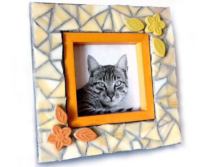 Mosaic Flower Frame, Yellow Orange Mosaic Frame, Square Mosaic Frame, 4x4 PhotoFrame, Floral Mosaic Frame, Handmade Mosaic Floral Frame