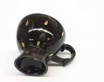 Black Espresso Cup Gold Drops