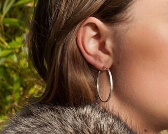 30mm Sterling Silver Hoop Earrings, Narrow