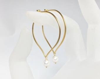 White Pearl Hoop Earrings, Vermeil Medium or Large Hoop Ear Wires, Swarovski Crystal Pearl