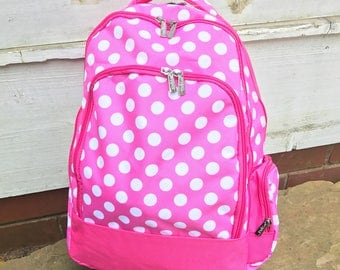 Pink Polka Dot Backpack-Dots Book bag-includes Monogram-School Bag-Diaper Bag