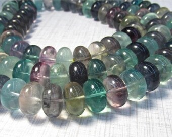 20% Off OUT Of TOWN SALE 18mm Fluorite Rondelle Beads, Outstanding Natural Blue Green Purple Designer Gemstone
