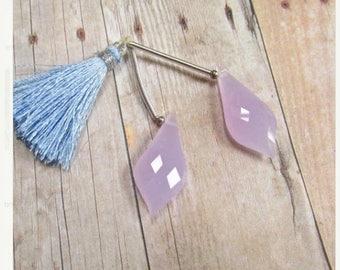 SALE Out Of TOWN Rose Cut Briolette Beads Lavender Quartz 12mm x 28mm, Matched Pair Quartz
