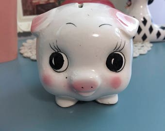 Vintage Japan Ceramic Big Eyed Small Piggy Coin Bank with Floral Design
