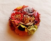 Berry red lavender yellow green orange daisy mix Roses Handmade millinery flower corsage hair bow supply