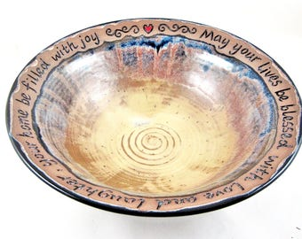Handmade pottery wedding bowl with blessing quote, Tan gold and black - In stock 132 WB