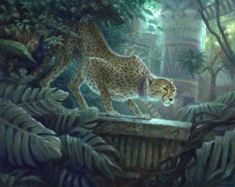 Pouncing Cheetah, signed giclee print