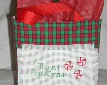 Peppermint Candy in Counted Cross Stitch Gift Bag