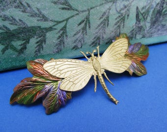 Dragonfly  Barrette Brridal hair accessories Dragonfly barrettes wedding hair clips Dragonfly hair clip Art Deco barrettes