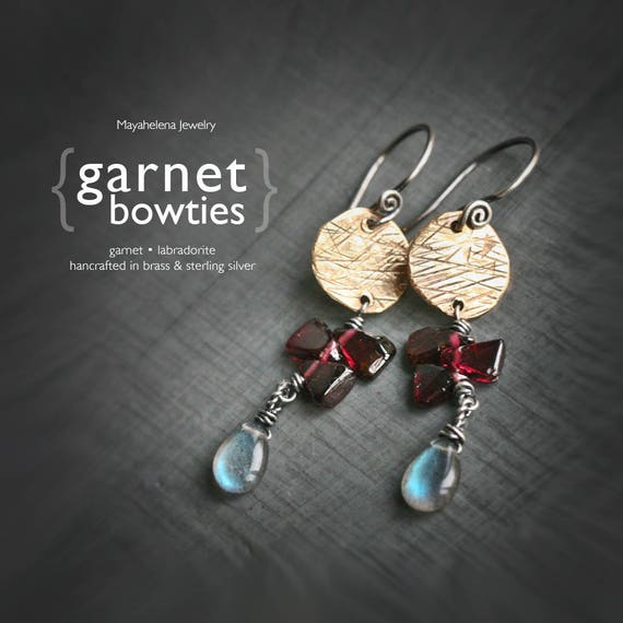 Garnet Bowties  - Sterling Silver and Brass Wire Wrapped Earrings with Garnet and Labradorite