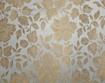 "Gold and White Reversible Damask of Roses 1990s Fabric Design by Miller-Farrell - 1+ Yard and 55"" Wide"