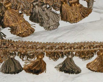 Rich Tassel Trim By 90s Brimar in Amber/Pewter Tones Perfect For Elegant Runners, Pillows, etc. 6+ Yards in 2 Pieces