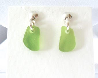 Bright Green Single Drop Stud Earrings on Sterling Silver