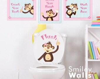 Kids Bathroom Wall Art, Monkeys Wall Decal for Kids Girls Bathroom Decor, Girls Bathroom Prints Stickers, Door Sign for Bathroom Decor