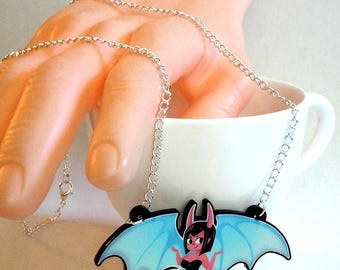 Cute Succubus Demon Girl acrylic charm necklace