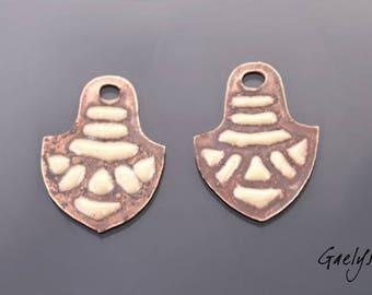 Email - Paire de plaque cuivre émaillé pour boucles d'oreille - Cuivre nu / emaux beige - motif en masque - Africain - Emaux Gaelys