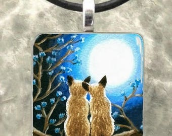 Art Glass Pendant Necklace Jewelry Earrings Cat 278 Siamese moon from painting by L.Dumas