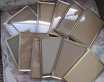 Lot of 12 Vintage Gold Metal Picture Frames  5 x 7 Retro Picture Frames with Flaps,Wedding Table decor