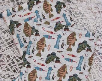 Handmade Potholders, Pair of Potholders/ Trivets Fish Print Fabric