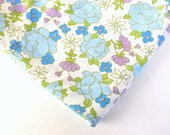 Mod Blue Flowered Twin Flat Sheet from Cannon Monticello