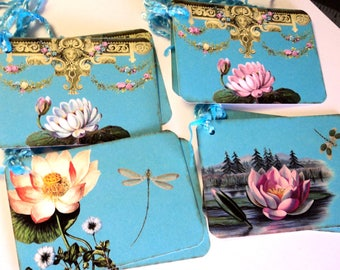 8  Gift Tags,  Lotus and Dragonfly, Aqua Blue, Merchandise Tags, Party Favor Tags, Handmade