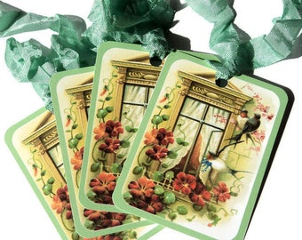 4 Gift Tags, Light Green Birds Outside the Window, Country Chic, Merchandise Tags, Party Favor Tags, Takuniquedesigns