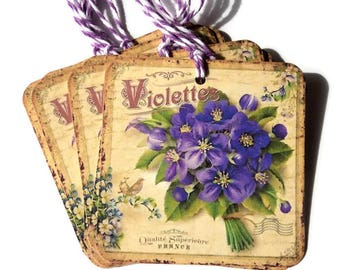 8 Vintage Look Bunch of Violets Gift Tags, Beige Purple Green Party Favor tags, Violet Flower hang tags, Takuniquedesigns