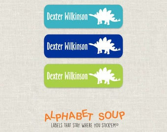 72 personalized dishwasher safe stegosaurus dinosaur labels | choose colors and fonts | microwave safe and waterproof