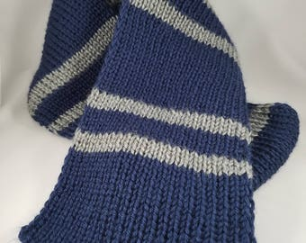 Blue and Gray Striped Scarf