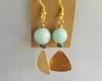 Green, Blue Swirl Glass Earrings, Gold Brass Dangles, 50%OFF Beaded Earrings, Summer Earrings, Under 10