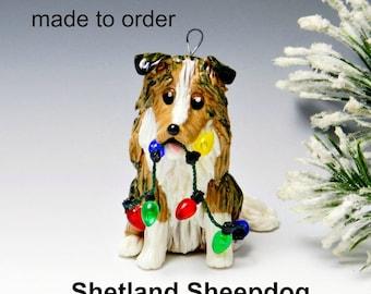 Shetland Sheepdog Made to Order Christmas Ornament Figurine in Porcelain