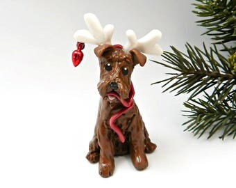 Irish Terrier Christmas Ornament Figurine with Reindeer Antlers OOAK Porcelain