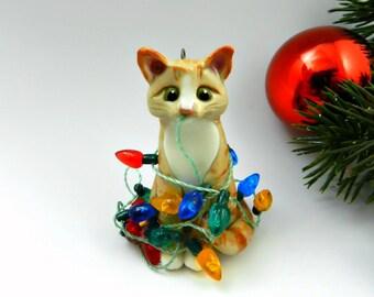 Orange Tabby Cat Christmas Ornament Figurine Lights Porcelain Clay