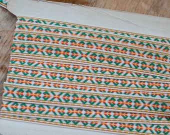 3 yards Embroidered Geometric  - Vintage Fabric Trim New Old Stock Mod BOHO Bohemian Hippie Happy Colors