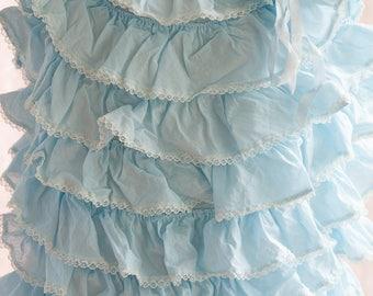 Ruffled Nightie - 60s Light Blue Nightgown Lingerie