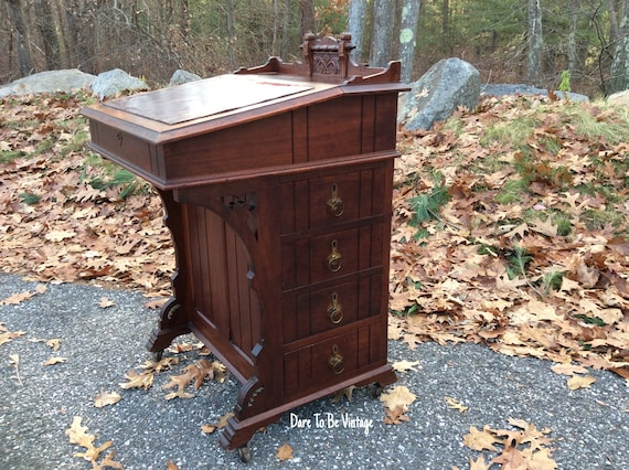 Like this item? - Victorian Antique Walnut Davenport Writing Desk Antique
