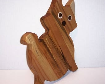 Kitty  Cheese Cutting Board Handcrafted from Mixed Hardwoods