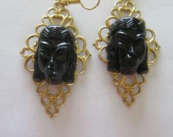 Selro Lucite Princess Filigree Earrings.