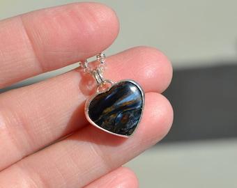 Chatoyant Pietersite Heart Necklace