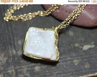 SALE White Druzy Necklace Gold Wire Wrapped Druzy Quartz Nugget Pendant Luxe Rustic Jewelry